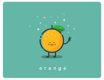 Vector o ícone da laranja, personagem de banda desenhada engraçado do fruto Foto de Stock Royalty Free
