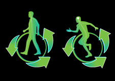 Vector o ícone da silhueta do homem que corre no fundo preto Fotografia de Stock Royalty Free