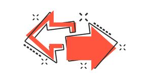 Vector o ícone deixado e direito da seta dos desenhos animados no estilo cômico forward ilustração do vetor