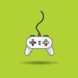 Vector o ícone do manche do jogo para jogar a estação no fundo verde Fotos de Stock