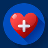 Vector o ícone dos cuidados médicos, cruz branca no coração vermelho Imagens de Stock
