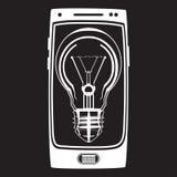 Vector o ícone esperto da ideia do telefone no estilo liso Fotos de Stock Royalty Free