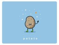 Vector o ícone liso da batata, caráter bonito dos desenhos animados do alimento Imagem de Stock Royalty Free