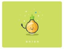 Vector o ícone liso da cebola, caráter bonito dos desenhos animados do alimento Imagens de Stock