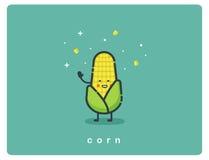 Vector o ícone liso do milho, caráter bonito dos desenhos animados do alimento Fotos de Stock Royalty Free