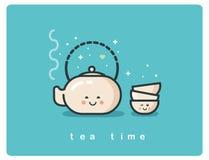 Vector o ícone liso do tempo do chá, do potenciômetro do chá e de personagens de banda desenhada bonitos dos copos Fotografia de Stock Royalty Free