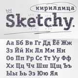 Vector o alfabeto cirílico tirado mão do esboço, fonte de língua do russo ilustração royalty free