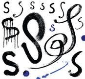 Vector letras do alfabeto escrito com um brus Imagens de Stock
