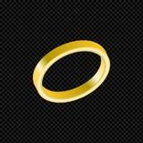 Vector o anel de ouro com o diamante no fundo transparente Foto de Stock