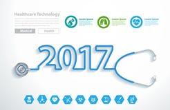 Vector o ano novo 2017 do projeto criativo do coração do estetoscópio Fotos de Stock