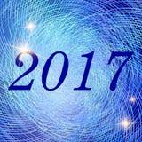 Vector o ano novo e o Natal 2017 luzes de incandescência do néon brilhante Imagens de Stock