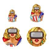 Vector o avatar do pop art, ícone do pino acima da menina 'sexy' nos vidros da realidade virtual com pipoca, soda Cinema, 3d, VR, Imagens de Stock
