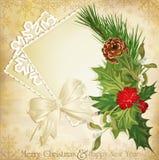 Vector o azevinho e a fita do Natal do vintage Imagens de Stock Royalty Free