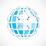 Vector o baixo objeto poli do wireframe dimensional, fac azul esférico ilustração do vetor