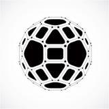 Vector o baixo objeto poli do wireframe dimensional, faceta cinzenta esférica ilustração royalty free