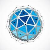 Vector o baixo objeto poli do wireframe dimensional, forma esf?rica azul com grade preta O elemento da malha da tecnologia 3d fez ilustração stock
