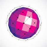 Vector o baixo objeto poli do wireframe dimensional, roxo esférico f ilustração royalty free