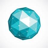 Vector o baixo objeto poli do wireframe dimensional, sh esférico verde Imagens de Stock Royalty Free
