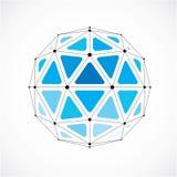 Vector o baixo objeto poli do wireframe dimensional, sha esférico azul ilustração do vetor