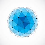 Vector o baixo objeto poli do wireframe dimensional, sha esférico azul ilustração stock