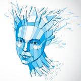 Vector o baixo retrato fêmea poli dimensional com linhas engrenam, gra ilustração royalty free