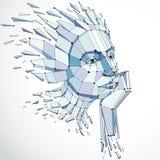 Vector o baixo retrato fêmea poli dimensional com linhas engrenam, gra ilustração do vetor