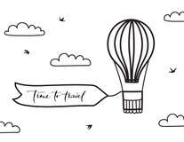 Vector o balão de ar quente do esboço, bandeira, nuvem, pássaro Fotos de Stock Royalty Free