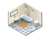 Vector o banheiro isométrico, grupo de ícones retros da mobília do banho do vintage Imagens de Stock