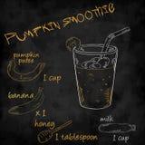 Vector o batido dos vegetais com a abóbora da lista dos ingredientes, banana, mel, leite Foto de Stock