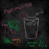 Vector o batido dos vegetais com a beterraba da lista dos ingredientes, cenoura, espinafre Fotos de Stock