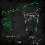 Vector o batido dos vegetais com brócolis da lista dos ingredientes, banana, água Fotos de Stock