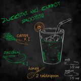 Vector o batido dos vegetais com o abobrinha da lista dos ingredientes, cenoura, leite, iogurte, mel Imagem de Stock Royalty Free