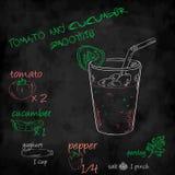 Vector o batido dos vegetais com o tomate da lista dos ingredientes, pepino, iogurte, pimenta Fotos de Stock