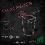 Vector o batido dos vegetais com o tomate, o açúcar, o sal e a salsa da lista dos ingredientes Imagem de Stock Royalty Free