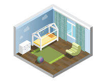 Vector o berçário isométrico, sala das crianças, grupo de mobília da sala do ` s das crianças do berçário Fotografia de Stock
