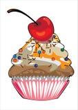 Vector o bolo com o creme amarelo isolado no branco Fotos de Stock Royalty Free