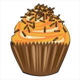 Vector o bolo com o creme amarelo isolado no branco Fotografia de Stock