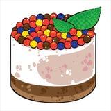 Vector o bolo com o creme do chocolate isolado no branco Foto de Stock Royalty Free