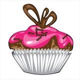 Vector o bolo de chocolate com o creme cor-de-rosa isolado sobre  Imagens de Stock