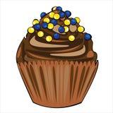 Vector o bolo de chocolate com o creme marrom isolado sobre Imagem de Stock Royalty Free