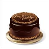 Vector o bolo de chocolate da festa de anos Fotografia de Stock Royalty Free