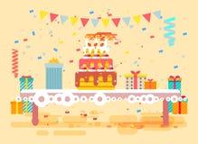 Vector o bolo festivo enorme da ilustração com velas na tabela, confete, comemore o feliz aniversario, felicitando, presentes ilustração do vetor