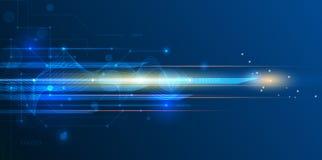 Vector o borrão abstrato futurista, da velocidade e de movimento sobre a obscuridade - fundo azul ilustração stock