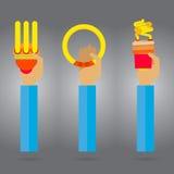 Vector o braço e a mão brilhantes pensados lâmpada da faísca Imagem de Stock