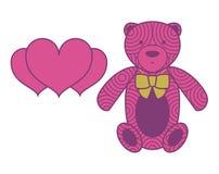 Vector o brinquedo do urso com uma fita e um pl heart-shaped Foto de Stock Royalty Free