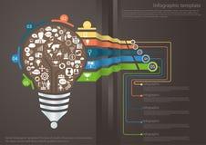 Vector o bulbo do molde de Infographic de uma ideia do negócio de uma comunicação para o sucesso do Aqua com as linhas, os gráfic ilustração royalty free
