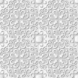 Vector o caleidoscópio redondo espiral do fundo 038 sem emenda do teste padrão da arte do papel 3D do damasco Fotografia de Stock
