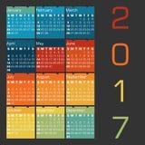 Vector o calendário 2017 - cores das estações Foto de Stock Royalty Free
