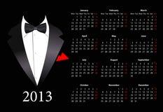 Vector o calendário europeu 2013 com terno elegante Fotografia de Stock Royalty Free