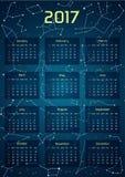Vector o calendário para 2017 no estilo do espaço Fotos de Stock Royalty Free